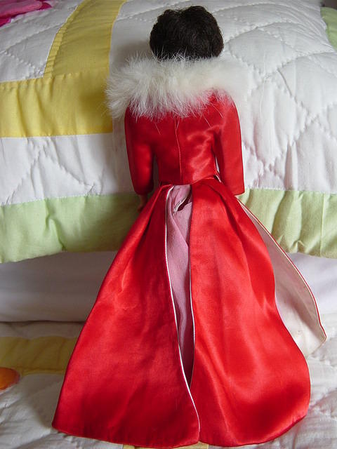 The back of the dress for Fabulous Fashion also has two red satin panels.