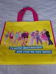"The ""Plastic Boyfriends"" theme is carried over to reuseable tote bags..."